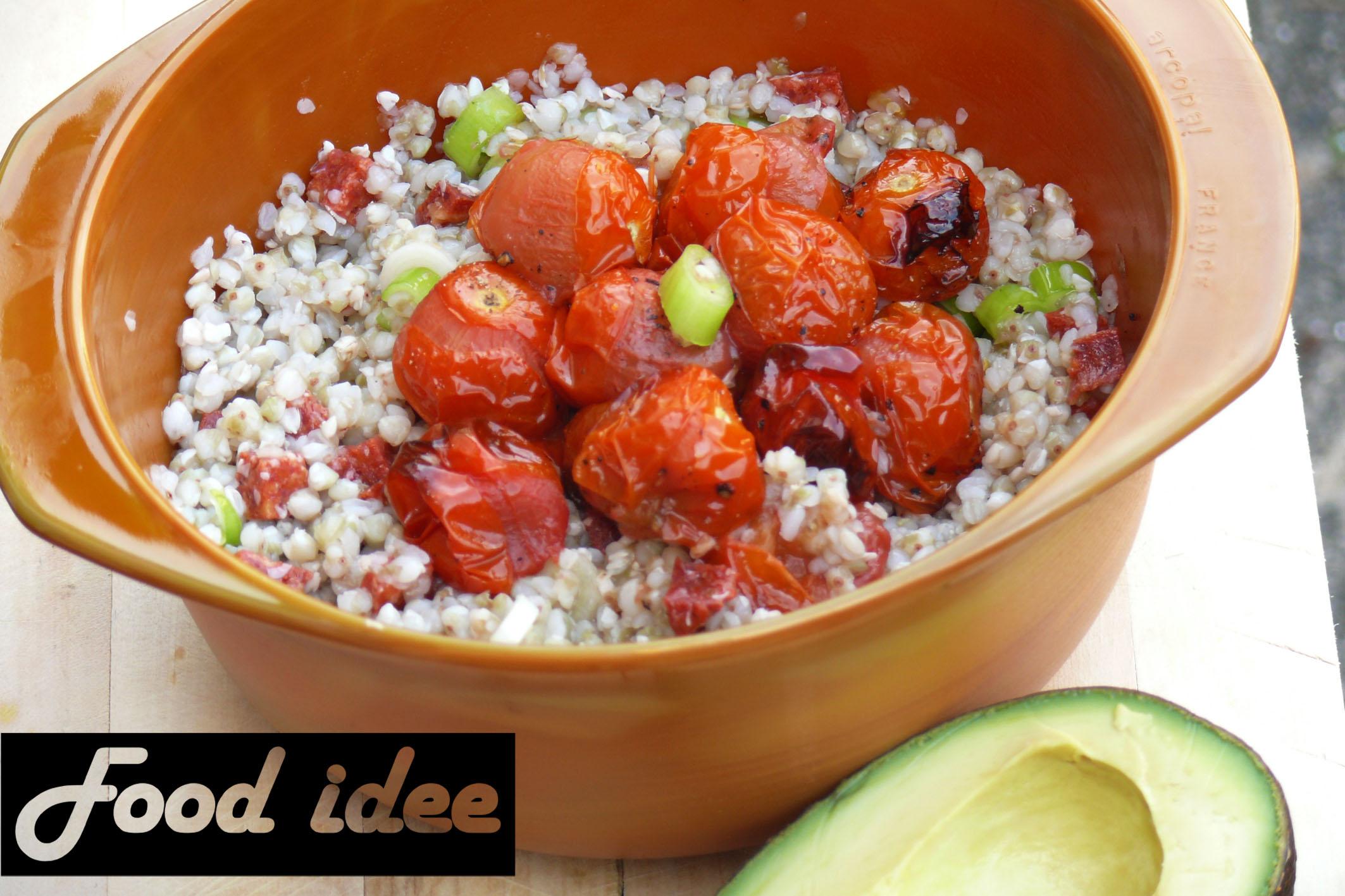 Boekweit met chorizo en tomaat uit de oven